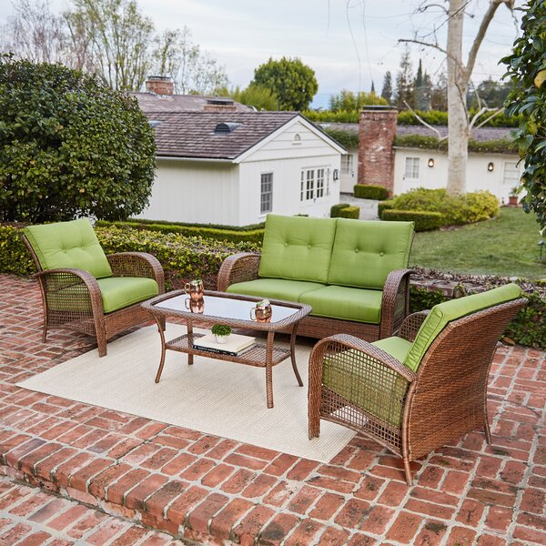 Limnitis 4 Piece Rattan Conversation Set with Cushions by Bay Isle Home