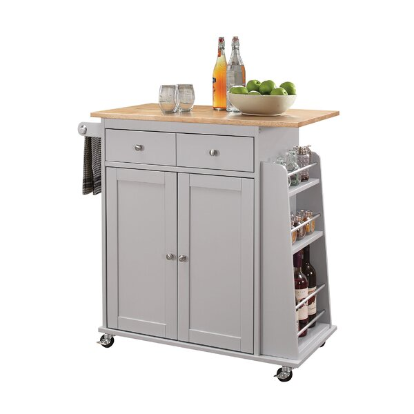 Flushing Kitchen Cart with MDF Top by Charlton Home