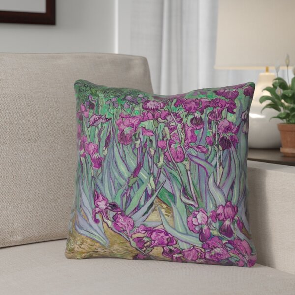 Morley 16 x 16 Irises in Pink Outdoor Pillows & Cushions UV Properties + Waterproof and Mildew Proof by Red Barrel Studio