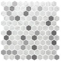 Onix 1 x 1 Glass Mosaic Tile in Metal Carrara by Madrid Ceramics