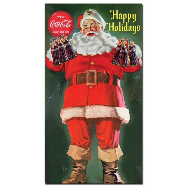 Coke Santa Holding 6 pack of Coca Cola Vintage Advertisement on Wrapped Canvas by Trademark Fine Art