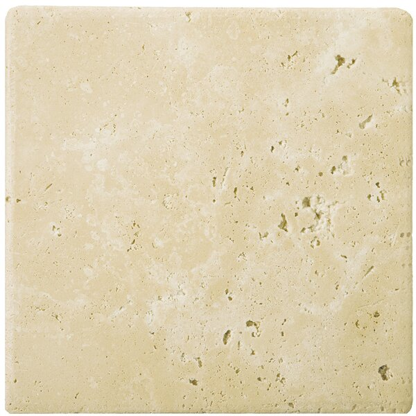 Travertine 6 x 6 Tile in Ancient Tumbled Beige by Emser Tile