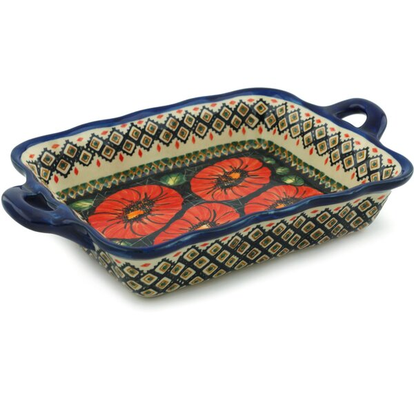 Poppy Passion Rectangular Non-Stick Polish Pottery Baker by Polmedia