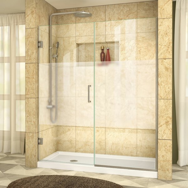 Unidoor Plus 57.5 x 72 Hinged Frameless Shower Door with Clearmax™ Technology by DreamLine