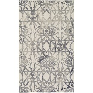 Deals Glenmoor Hand-Tufted Ash Gray/Off-White Area Rug By Ivy Bronx