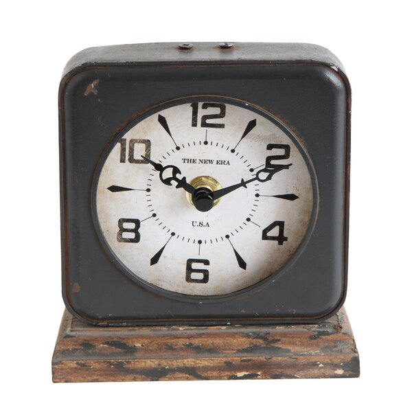 Pewter with Distressed Ivory Face Mantle Clock by Williston Forge