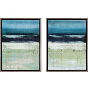 'Sea and Sky' Framed Painting Print (Set of 2) by Rosecliff Heights