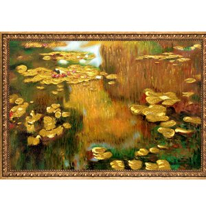 'Water Lilies Metallic Embellished' by Claude Monet Framed Oil Painting Print on Canvas by Astoria Grand