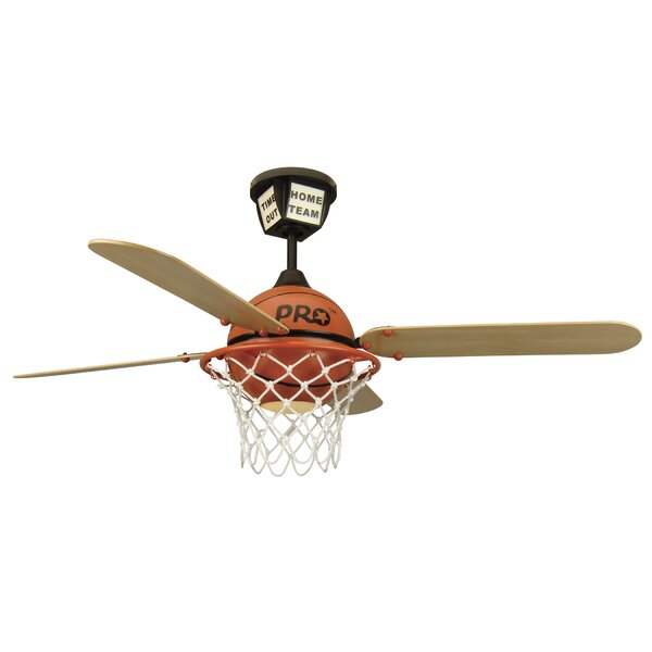 52 Destiney ProStar Basketball 4-Blade Ceiling Fan with Remote by Zoomie Kids