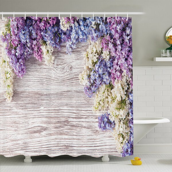 Rustic Home Lilac Flowers Bouquet on Table Nature Romance Shower Curtain Set by Ambesonne
