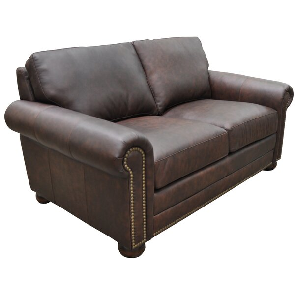 Buy Online Top Rated Athens Genuine Leather Chesterfield Loveseat by Omnia Leather by Omnia Leather