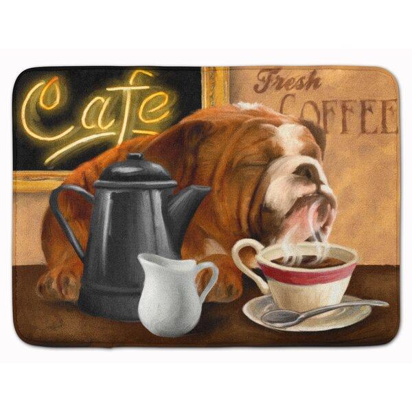 English Bulldog Morning Coffee Memory Foam Bath Rug by East Urban Home