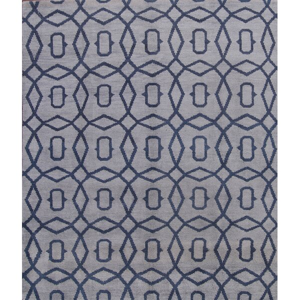 One-of-a-Kind Natasha Moroccan Oriental Hand-Knotted Wool Blue/Gray Area Rug by Wrought Studio