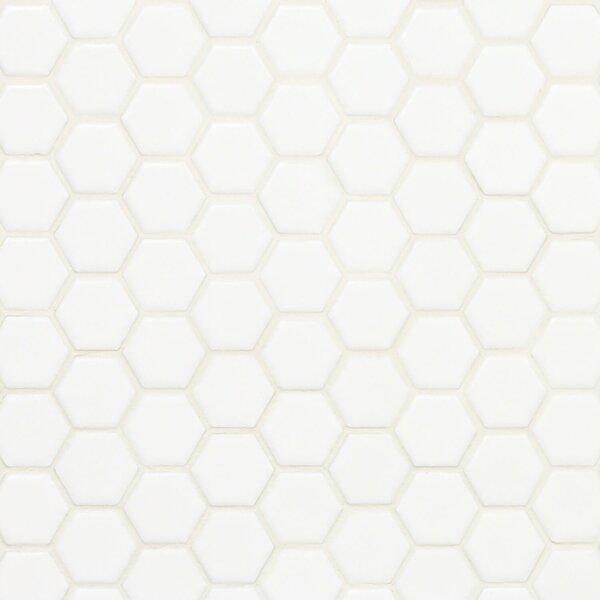 Bliss 0.6 x 0.6 Ceramic Mosaic Tile in White by Splashback Tile