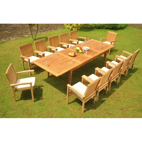 Danielburnham 13 Piece Teak Dining Set by Rosecliff Heights