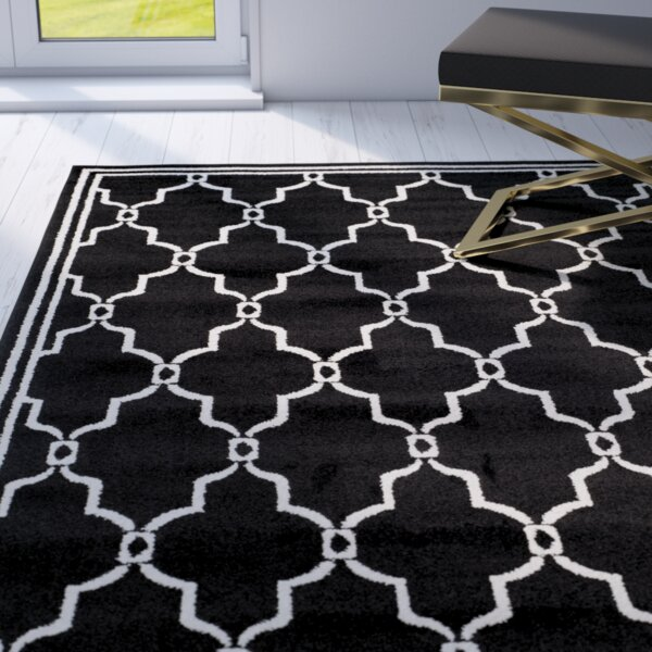 Wason Power Loomed Black/Ivory Indoor/Outdoor Area Rug by Three Posts