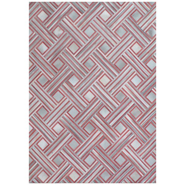 Natural Hide Hand-Tufted Cowhide Red/Silver Area Rug by Exquisite Rugs