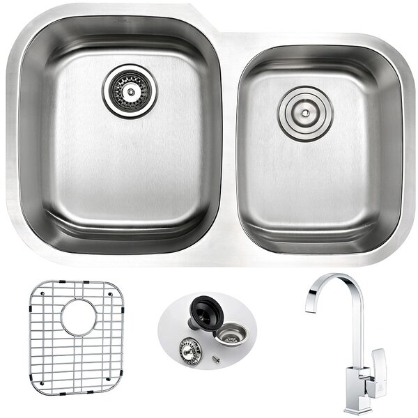 Moore 32 L x 20.75 W Double Bowl Undermount Kitchen Sink with Faucet and Drain Assembly by ANZZI