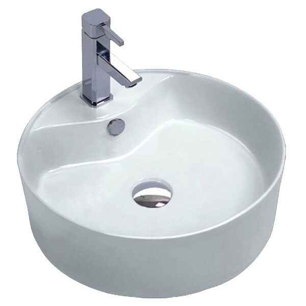 Vitruvius Series Vitreous China Circular Vessel Bathroom Sink with Overflow by ANZZI