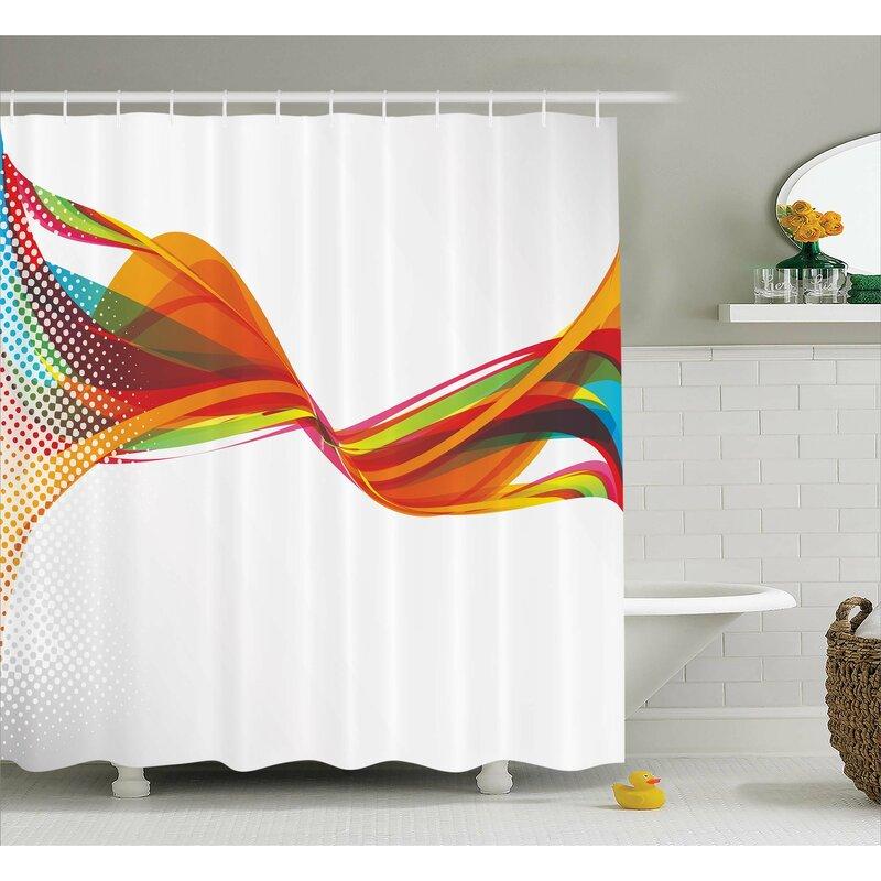 Pixel Details Rainbow Shower Curtain