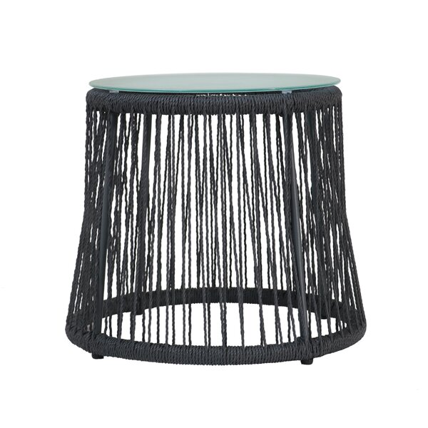 Chess Glass Side Table by Bungalow Rose