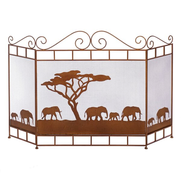 Wild Savannah 3 Panel Iron Fireplace Screen By Zingz & Thingz