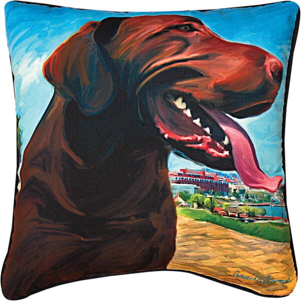 View from the Hill Choc Lab Throw Pillow by Manual Woodworkers & Weavers