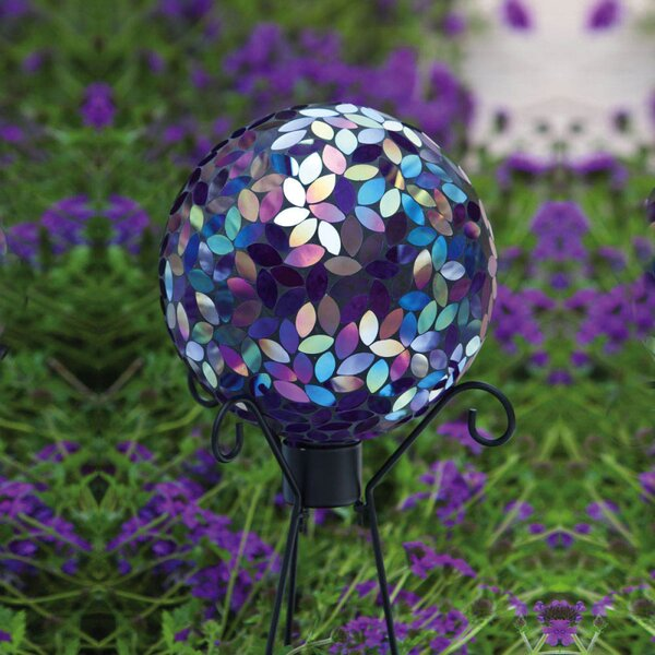 Irridescent Mosaic Gazing Globe by Evergreen Flag & Garden