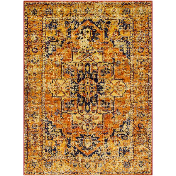 Ranck Distressed Vintage Bright Orange/Bright Yellow Area Rug by Bungalow Rose