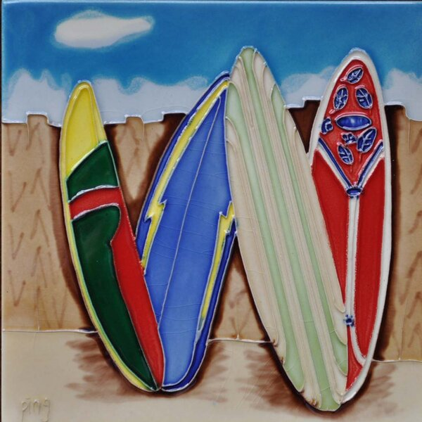 Surfboard 3 Tile Wall Decor by Continental Art Center