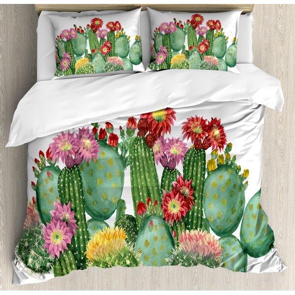 Cactus Saguaro Barrel Hedge Hog Prickly Pear Opuntia Tropical Botany Garden Plants Duvet Set by Ambesonne