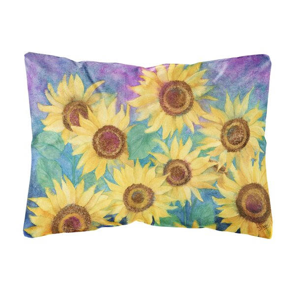 Sherrard Sunflowers and Fabric Indoor/Outdoor Throw Pillow by Winston Porter