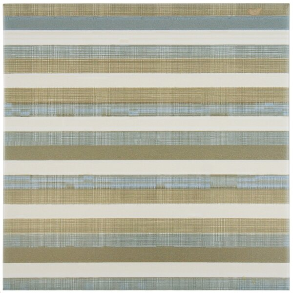 Illica 7.75 x 7.75 Ceramic Fabric Look/Field Tile in Blue/Tan by EliteTile