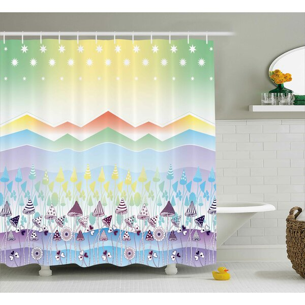 Lydia Spring Sky with Stars Shower Curtain by Zoomie Kids