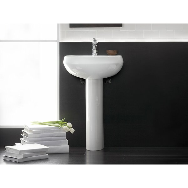 Wellworth® Ceramic 23 Pedestal Bathroom Sink with Overflow by Kohler