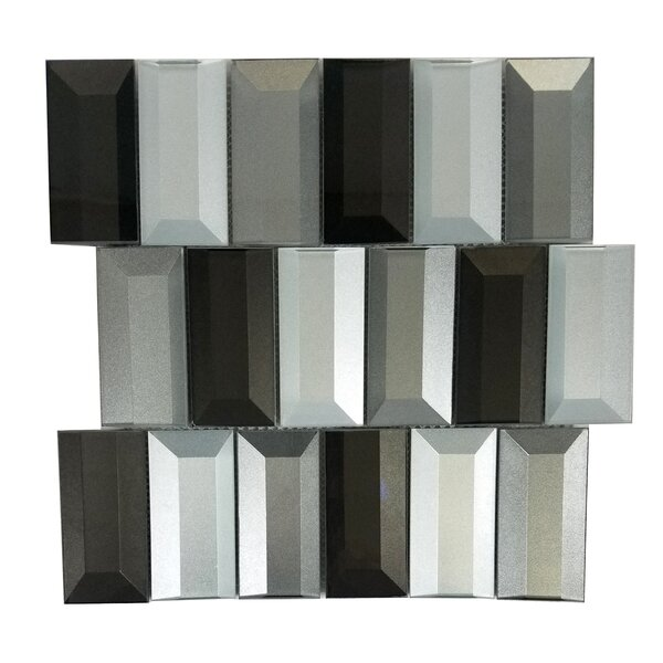 Illusion 2x 4 Glass Backsplash Tile in Glossy Silver/Gray by Abolos