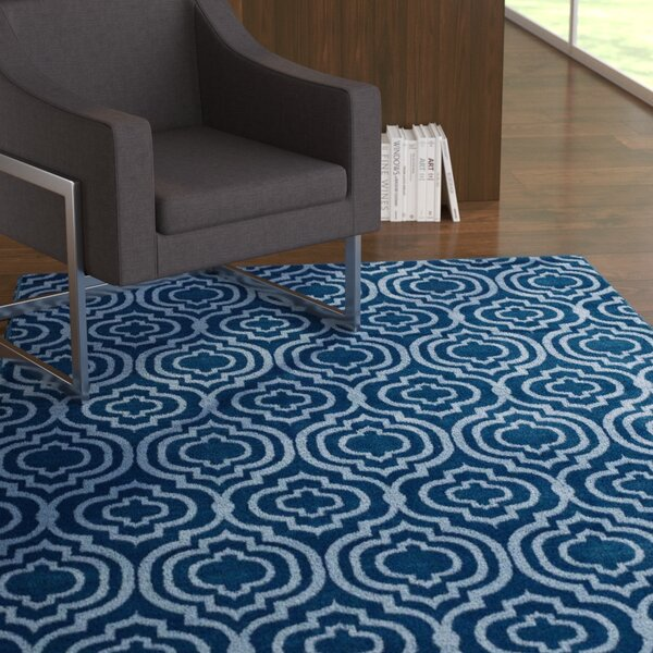 OHare Frame Transitional Trellis Moroccan Blue/Light Blue Area Rug by Ebern Designs
