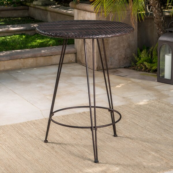 Preslar Outdoor Wicker Pub Table by Wrought Studio