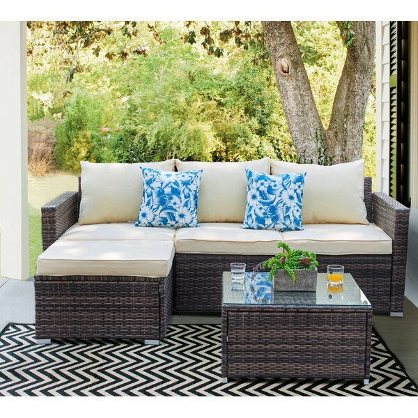 Don 3 Piece Rattan Sectional Seating Group with Cushions by Zipcode Design