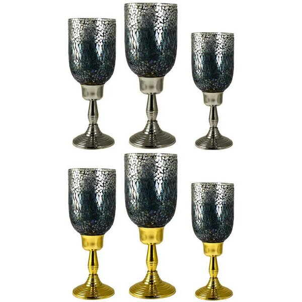 6 Piece Glass and Metal Hurricane Set by Rosdorf Park