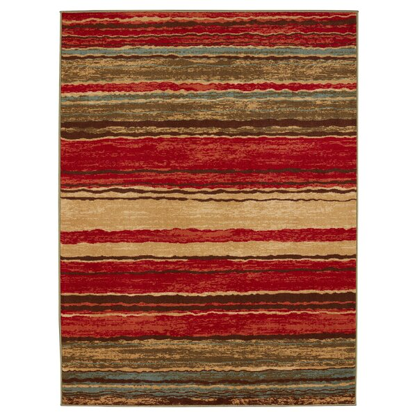 Anne Stripe Red/Brown Area Rug by Diagona Designs