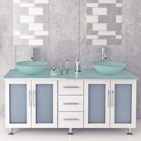 Lune Glass 59 Double Bathroom Vanity Set by JWH Living
