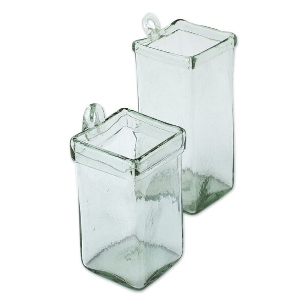 Ice Cubes 2-Piece Glass Wall Planter Set by Novica