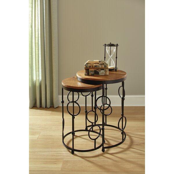 2-Piece Round Nesting Tables Brown And Black Gunmetal (Set of 2) by Ivy Bronx Ivy Bronx