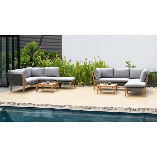 Olinda 8 Piece Teak Sectional Seating Group with Cushions by Wrought Studio
