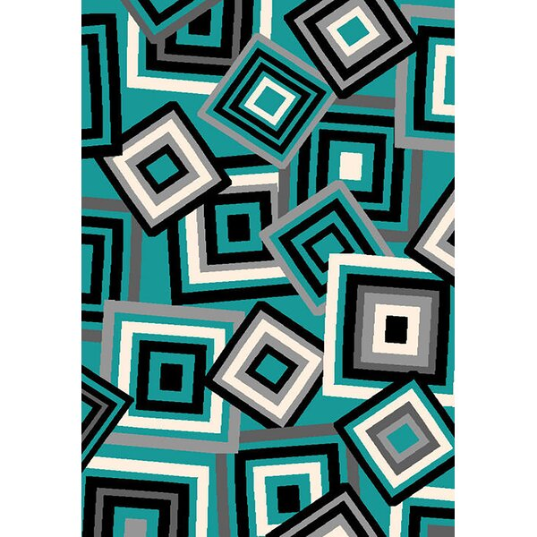 Bella Modern Contemporary Turquoise Area Rug by Planet Rugs