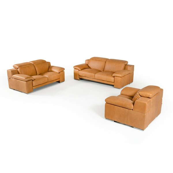 Parodi Italian Cognac Leather 3 Piece Living Room Set by Orren Ellis