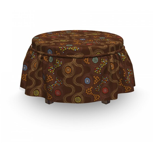 Abstract Curved Doodle Lines 2 Piece Box Cushion Ottoman Slipcover Set By East Urban Home