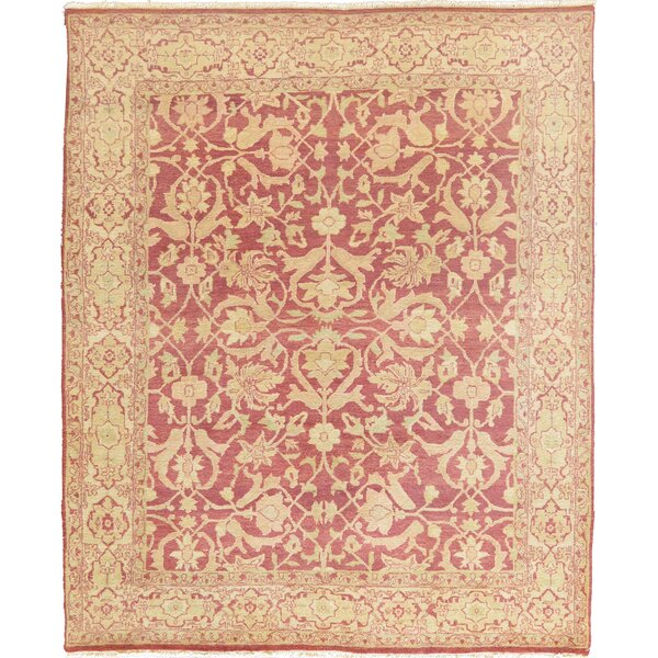 Agra Authentic Hand-Knotted Wool Terracotta Indoor Area Rug by Mansour
