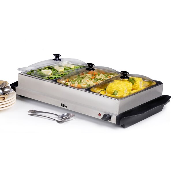 Platinum 7 5 Qt Stainless Steel Electric Buffet Server By Elite By Maxi Matic.